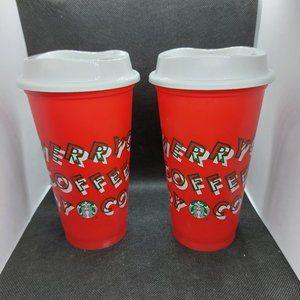 2 Starbucks 2019 Christmas Reusable Cups